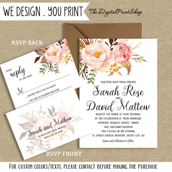 Romantic Wedding Invite Prinatble Invitation Blush Floral