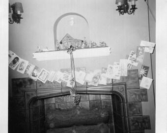 Vintage Photo..Christmas Fireplace 1950's, Original Photo, Old Photo Snapshot, Vernacular Photography, American Social History Photo