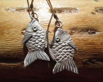Sterling Silver Fish  Dangle Earrings