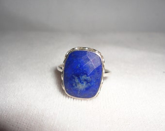 Vintage Cushion Faceted Lapis Silver Ring******.