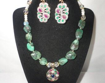 Elegant Pearl,Emeralds Rubies, Sapphire Pendant Necklace*******.