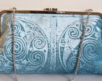 Aqua Embossed Velvet Celtic Spirals Clutch bag