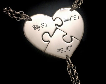 3 Sister Necklace, Sister Necklaces For 3, Personalised Sister Gifts, Sister Jewelry, Three Sisters, Big Sis Mid Sis Lil Sis