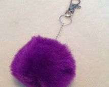 Handbag Accessory, Party Favours, Hippie Keychain, Puff Ball Keyring, Purple Fluffy Keyring, Fur Ball Keyring, Purple Furry Keyring