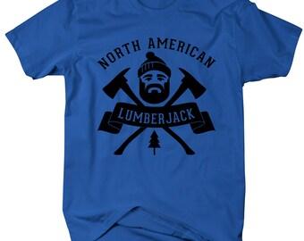 Men's North American Lumberjack T-Shirt Woodsman Axe Man Shirts