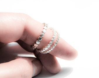 Set of three sterling silver bubble rings, oxidized rings, 3mm hammered ring, beaded ring, handmade ring, stacking ring set