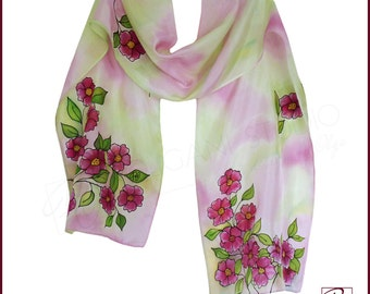 Wild Roses Hand Painted Silk Scarf, Floral Soft Pink, Red, Green. Botanical Scarf 11 x 58 inches. Gift for her. Ready to ship.