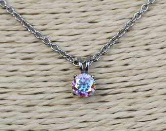 1ct Genuine mystic topaz Pendant Necklace - Available in white gold or titanium