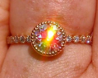 Old European Cut OEC Moissanite Rose Gold Engagement Ring with Milgrain Bezels, Moissanite Engagement Ring