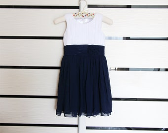 White Navy Flower Girl Dress Chiffon Knee-length Sleeveless Navy Blue Flower Girl Dress