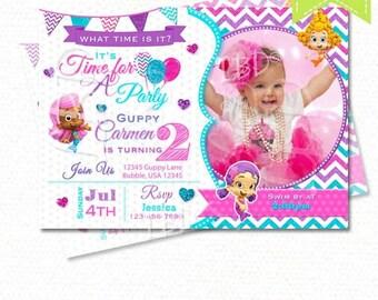 Bubble Guppies Invitation, Bubble Guppies Birthday Invitations, Photo Bubble Guppies Party Printables - BGJ16- 2  - YOU PRINT