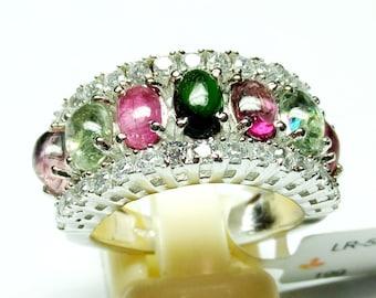 Stone Ring- 925 Sterling Silver Ring Jewelry / Multi Torumaline Gemstone Ring / Prong Set Handmade Ring / with CZ