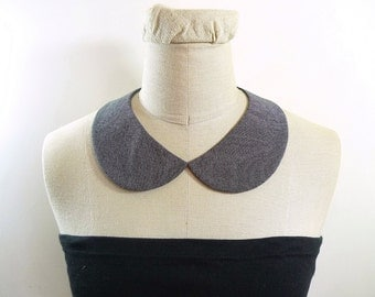 Peter Pan Collar. Grey collar necklace. Detachable Collar,