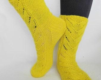 Knitted lace wool socks, light warm yellow women socks