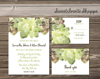 Succulent Wedding Invitation Suite, Green Watercolor Wedding Invitation Set, Succulent Wedding, Printable Invitation Set, Watercolor Invite
