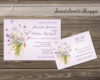 Wild Flowers Wedding Invitation Set, Purple Floral Wedding Invitation And RSVP Card, Whimsical Bouquet Flowers Wedding Invitation Suite, DIY