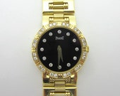 Piaget Dancer Black Dial Diamond Watch 18k Yellow Gold 80564 K81
