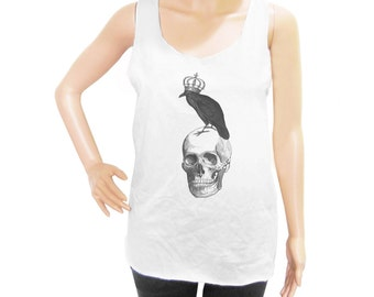 Skull Raven shirt workout tank top women tank top men tank top sleeveless size S M L