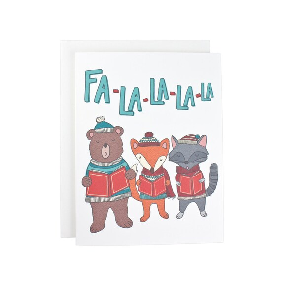 Fa La La Caroling Critters Christmas, Holiday, Winter greeting card