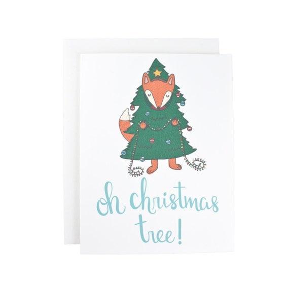 Oh Christmas Tree Fox Christmas, Holiday, Winter greeting card