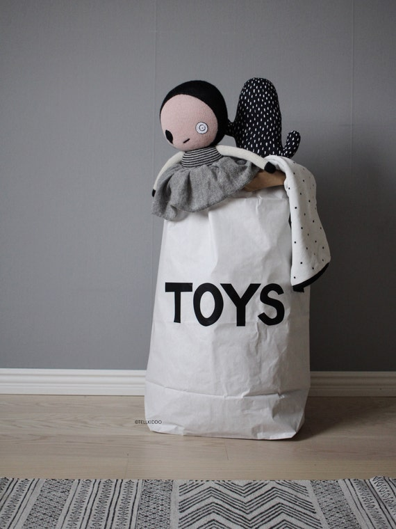 Sack Of Toys : Toys paper bag storage of books or teddy bears by