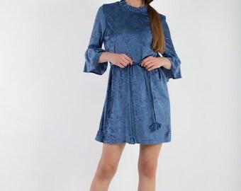 Velvet dress, crushed velvet dress, ruffled sleeves dress, oversized tee, loose cut dress, blue velvet
