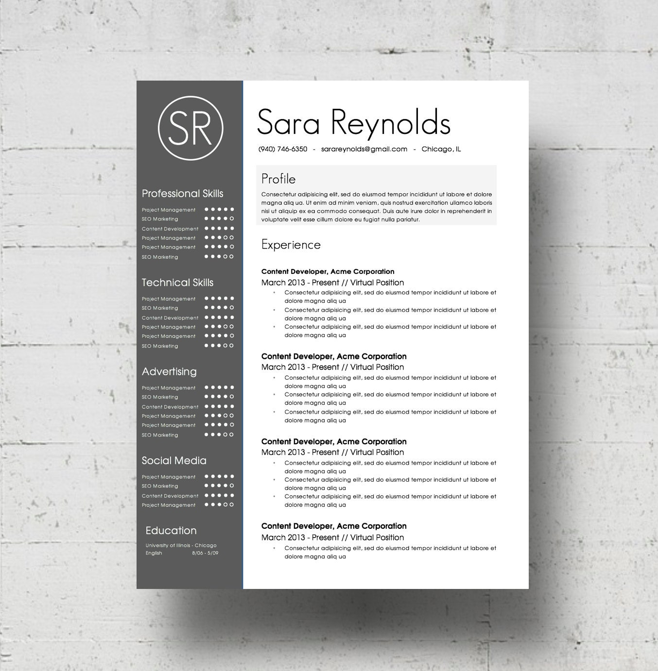Resume Template Cover Letter Template The Sara By Phdpress: Resume Template & Cover Letter Template The Sara Reynolds