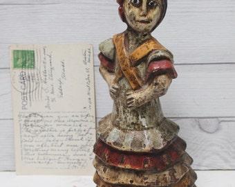 Hand Carved and Painted Wood Spanish Dancer Figure, Vintage Wood Dancer, Primative Girl