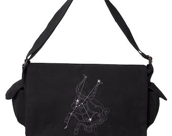 Taurus Bag, Horoscope Taurus Bag, Taurus Messenger, Ecliptic Constellations - Taurus Embroidered Canvas Cotton Messenger Bag