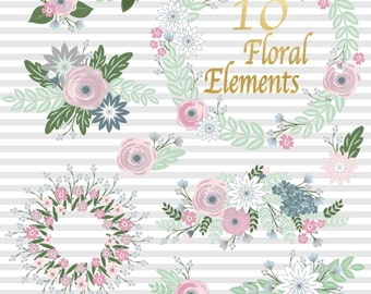 Floral Bouquet Clipart, Flower clipart, Wedding invitation clipart in floral png files, instant download
