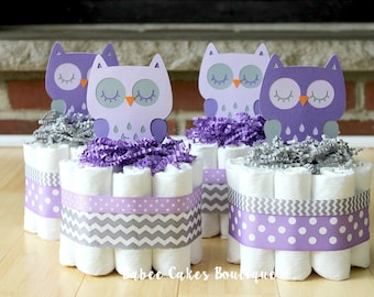 SET OF 4 Purple and Gray Owl Mini Diaper Cakes, Girls Owl Baby Shower, Purple, Gray, Grey Owl Centerpiece, Decor, Gray Owl Chevron Shower