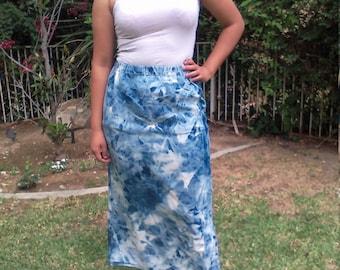 Blue Bleached Tie Dye denim skirt,midi skirt,medium