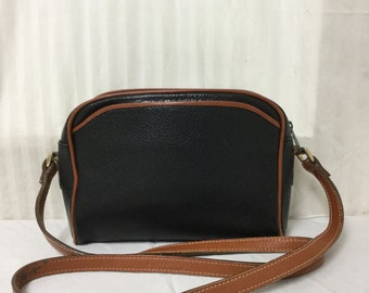 Free Ship, Black Leather bag,bags purses,Shoulder Bag, British Tan, Trim ,Charter Club