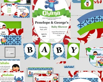 Stitch Baby Shower Set-Lilo and Stitch-DIY Printable-Instant Download-Editable-Print At Home-Party Supplies