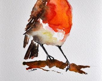 ORIGINAL Watercolor Painting Robin Bird Portrait, Orange Brown Bird 6x8 inch