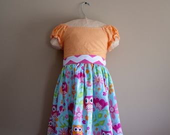 Girls Owl, and polka dot dress. Available in sizes 6months - 10