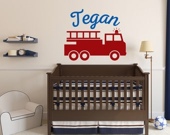 Fire Truck Wall Decal Personalized Child's name Removable Vinyl Nursery Decor Children Boys Firefighter Nursery Bedroom Decor