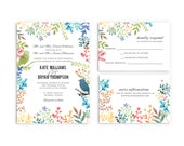 Spring Wedding Invitation with Watercolor Floral Elements and Birds