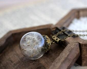 Dandelion Necklace, Dandelion Seed, Wish Necklace, Dandelion Sphere, Dandelion Orb, Real Flower Sphere, Botanical Necklace