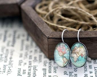 Retro World Map Oval Earrings, World Map Earrings, Dangle Map Earrings, Map Jewelry, World Map Jewelry, Retro Earrings, Globe Earrings
