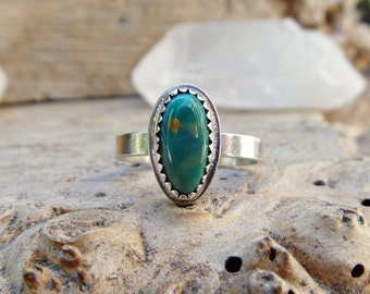 Turquoise sterling silver stacking ring // Size 8.25 // Turquoise jewelry // Sterling silver jewelry // Metaphysical // McGinnis Turquoise