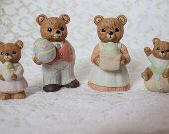 Vintage Homco Easter Theme Bear Family Set of 4 Easter Décor