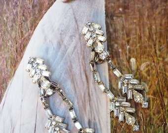 """Unique ART DECO 2.75"""" Long Dangling 2-Strand Clear Rhinestone EARRINGS- Vtg, Native American Feather Style-Wedding Bride, Prom, Holiday gift"""