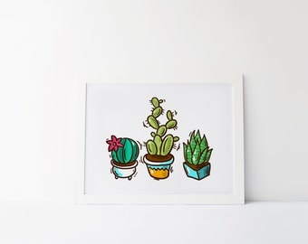 Potted Plant Print · 4x6 5x7 8x10 11x14 · Succulent Art Print · Cactus Wall Art · Western Decor · Whimsical Printable · Colorful Wall Decor