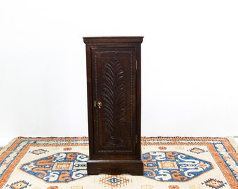 Tall Narrow Carved Oak Cabinet