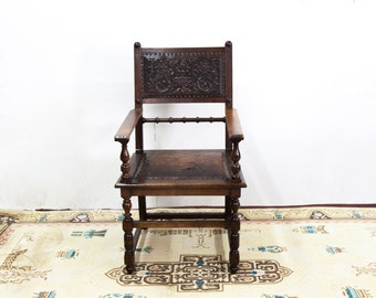 Embossed Leather Arm Chair