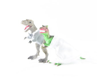 Custom Dinosaur Bride & Groom  Wedding Cake Toppers -Trex