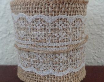 Burlap lace Fabric Ribbon # 5(2.4 x 6 Ft)