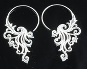 Silver Plated Brass Hanging Long Ethnic Earrings, Lightweight Hook Style Earrings for Normal Pierced Ears, Ornate Leaf Design SSG3
