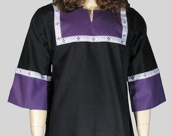 T-tunic Black and Purple with Purple Celtic Trim
